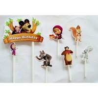 topper hiasan kue cake ulang tahun happy birthday karakter masha bear
