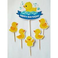 topper hiasan kue cake ulang tahun happy birthday karakter bebek duck