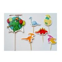 topper hiasan kue cake ulang tahun happy birthday dino dinosaurus