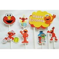 topper hiasan kue cake ulang tahun happy birthday karakter elmo