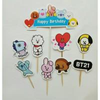 topper hiasan kue cake ulang tahun happy birthday karakter bt21 bt 21