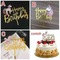 topper hiasan kue cake akrilik ulang tahun hbd ultah karakter unicorn