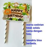 topper hiasan kue cake ulang tahun happy birthday karakter animal zoo