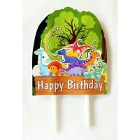 topper hiasan kue cake ulang tahun happy birthday karakter dinosaurus