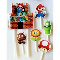 topper hiasan kue cake ulang tahun happy birthday karakter mario bross