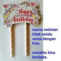 topper hiasan kue cake ulang tahun happy birthday karakter unicorn