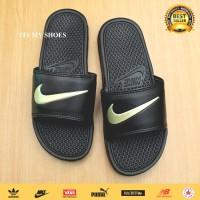 Sandal Slop Benassi Flip Flop-Karet-Hitam Gold