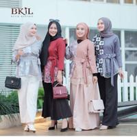 (Real Video) Blouse Batik Modern Kombinasi Brokat / Baju Atasan Wanita