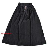 Rok Panjang Jeans Pinggang Tali Model A - Hitam