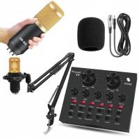 Soundcard V8 Microphone BM 800 Podcast Sound Card Mixer Youtube Bigo