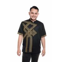 Baju Koko Lengan pendek Bordir Kualitas Premium TN 902 Hitam
