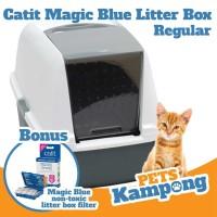 Bak pasir kucing Catit hooded cat pan magic blue filter regular 44075
