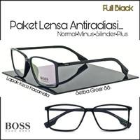 frame kacamata pria BO sport paket Lensa anti radiasi minus normal