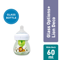 Dr. Brown's 2oz/60ml Glass Wide-Neck Options+ Bottle with Lion Deco