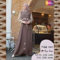 Gamis Nibras NSS 005 Warna Coklat Pastel Busui Trendi Casual Elegan