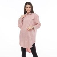 Cottonology Wanita Midi Shirtdress Chika Merah Muda Putih