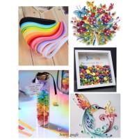 Kertas origami kertas bintang quilling paper star paper art - rainbow
