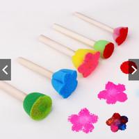 5pcs/SET Wooden Sponge Graffiti Painting Brush EDUKASI LUKIS CAT KAYU