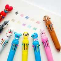 pulpen 10 warna bt21 lucu imut bolpen ballpoint ten color alat tulis
