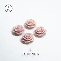 Torenda Jewelry Rose Acrylic Big Ungu (col.18) - Bunga Rose / PCS