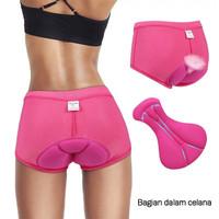 Celana Sepeda Wanita Padding Gel 3D Woman Cycling Underwear Pink