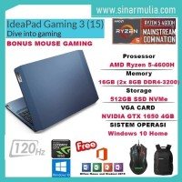LENOVO IDEAPAD Gaming 3 Ryzen 5 4600H 512GB SSD 16GB GTX1650 120Hz W10