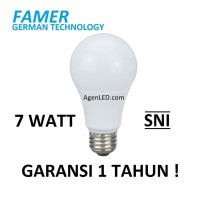 FAMER Lampu LED 7W Bohlam 7 w watt Putih Bulb 7watt 6 8 white GARANSI