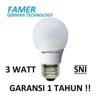 FAMER Lampu LED 3W Bohlam 3 w watt Putih Bulb 3watt 4 5 white GARANSI