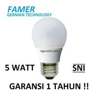 FAMER Lampu LED 5W Bohlam 5 w watt Putih Bulb 5watt 3 4 white GARANSI