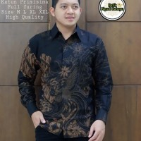 Kemeja Batik Pria Wahyu Tumurun Size M-XXL premium baju batik Pria - Hitam, M