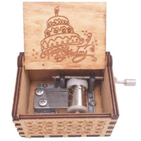 Wooden music box Happy Birthday - Cokelat