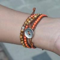 UNISEX Brown Jasper and Orange Bead 3 Wraps Bracelet / Gelang Tali - S