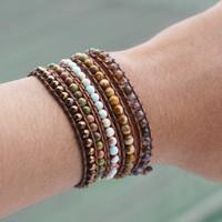 MEN Jasper and Hematite Stone Wrap Bracelet / Gelang Tali Batu - S