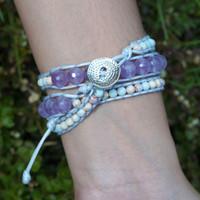Gelang Wanita Batu Lavender dan Imperial Jasper - S