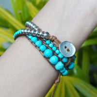 Gelang Wanita Turquoise Bead dan Zinc - S