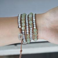 WOMEN Prehnite and Mother of Pearl Bead 5 Wraps Bracelet / Gelang Tali - S