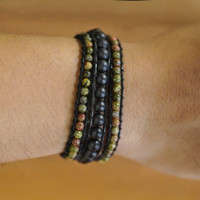 MEN Green Jasper and Black Onyx Matte 3 Wraps Bracelet / Gelang Tali - S