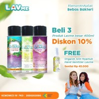 Lavme Disinfectant Anti Virus Organic 400ml - 3pcs Free Lemongras 60ml
