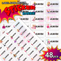 ISI LEBIH BANYAK Sticker Label Name Barbie Waterproof Stiker Nama