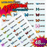 ISI LEBIH BANYAK Sticker Label Name Kupu-kupu Waterproof Stiker Nama