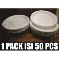 PIRING MAKAN PLASTIK 50PCS UK 9 BESAR L PESTA NASI LAUK MURAH P9