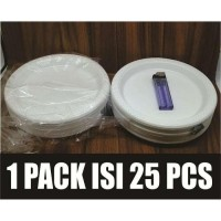 PIRING PLASTIK 50PCS UK 7 SEDANG M PESTA SEKALI PAKAI MURAH PUTIH P7