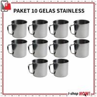 Paket 10 Gelas stainless Steel / Mug / Cangkir Wedding Souvenir
