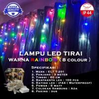 Lampu Natal Tirai LED Rainbow (8 Colours) 100 LED 3 Meter