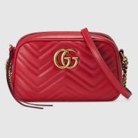 Gucci GG Marmont Zipper Shoulder Bag Red GHW - Mini 100% Authentic