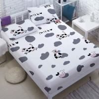 Bed Cover Set Katun Motif Cow & Kulit Sapi, 160x200, Bedcover Set