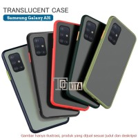 Case Samsung A31 matte translucent frosted hard soft shockproff - Hitam