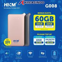 HKM G008 Mifi Router 4G LTE Free XL GO IZI dan Worldwide 60gb