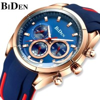 jam tangan BIDEN pria Mode Olahraga Tali silikon Tahan Air Jam Tangan