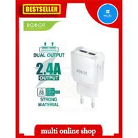charger Robot 2 output 2.4A travel charger adapter RT K6 murah originl